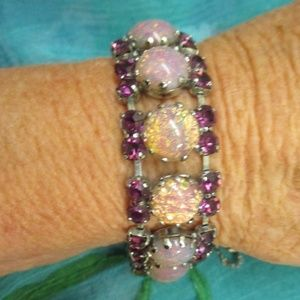 Pink Purple Crystal Glass Link Bracelet Vintage